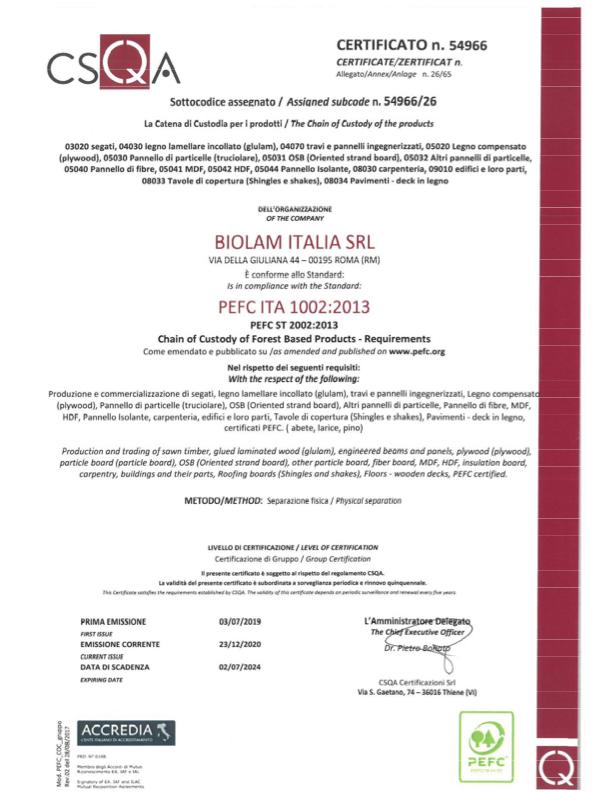 Certificato PEFC Biolam Italia